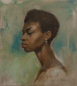 portrait alla prima (oil on canvas, 45x40 cm)