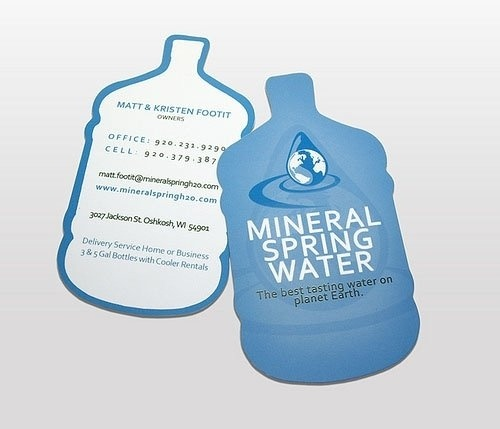 Bottle shaped business cards.