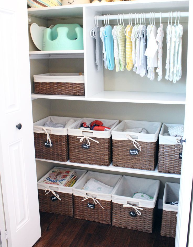 (Bottom Half) Build one shelf, and use existing baskets for PJs, Undies, Socks, etc. Also works for new room.