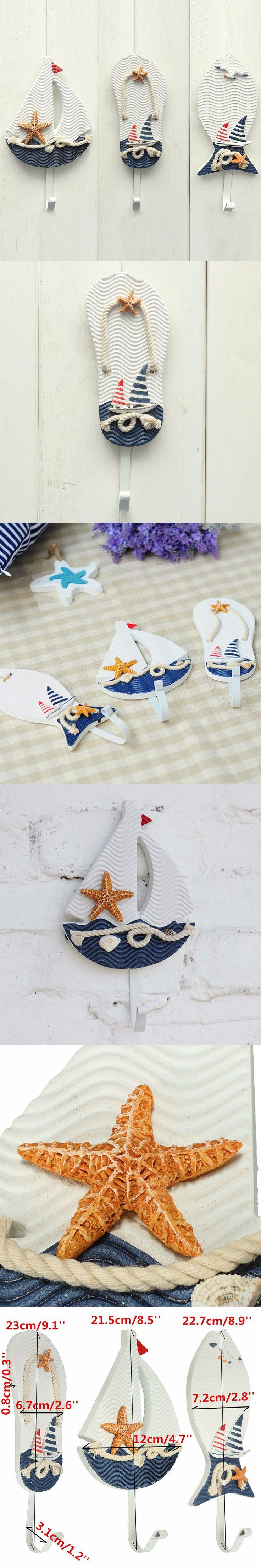 New Wall Hooks Mediterranean Style Anchors Fish Slipper Boat Shaped Living Room Hanging Decoration Nautical Decor $8.49