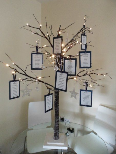 Table plan tree with lights hanging off branches