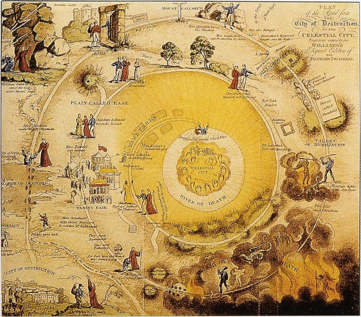 "Plan of the Road from the City of Destruction to the Celestial City from the 1833 edition of ""The Pilgrim's Progress"""