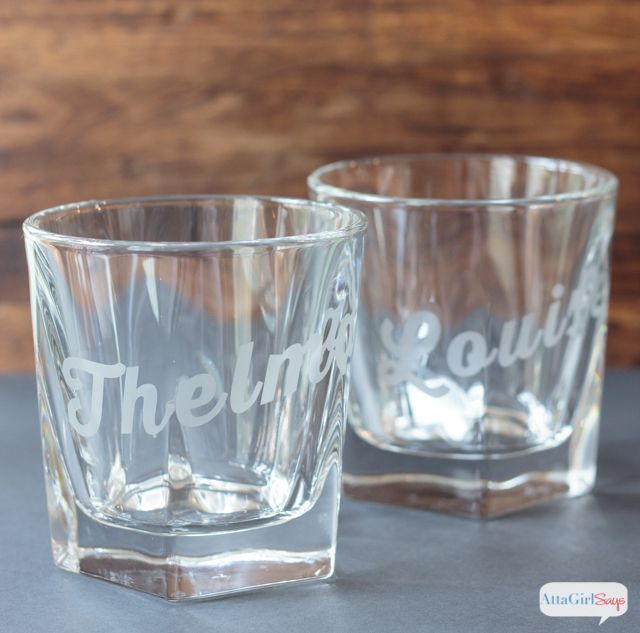 Atta Girl Says | Famous Duos Personalized Whiskey Glasses - could do with wine glasses for Jo | http://www.attagirlsays.com