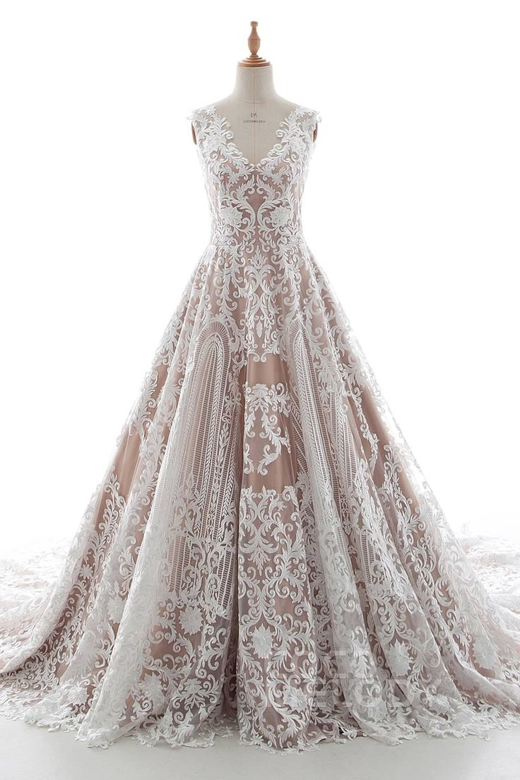 Charming A-Line V-Neck Natural Chapel Train Tulle Lace and Elastic Satin Sleeveless Zipper Wedding Dress with Appliques LD5190 #prepperwedding #homesteader #minimalist