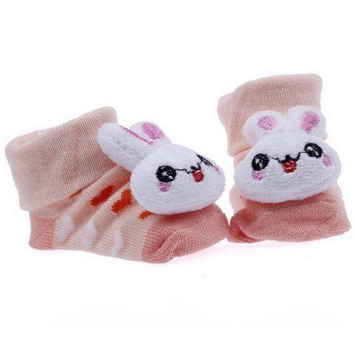 EOZY Diseño De Animal Conejo Tejido Jacquard Antideslizante Botas Botines Calcetines Para Bebé Algodón Blanco Naranja