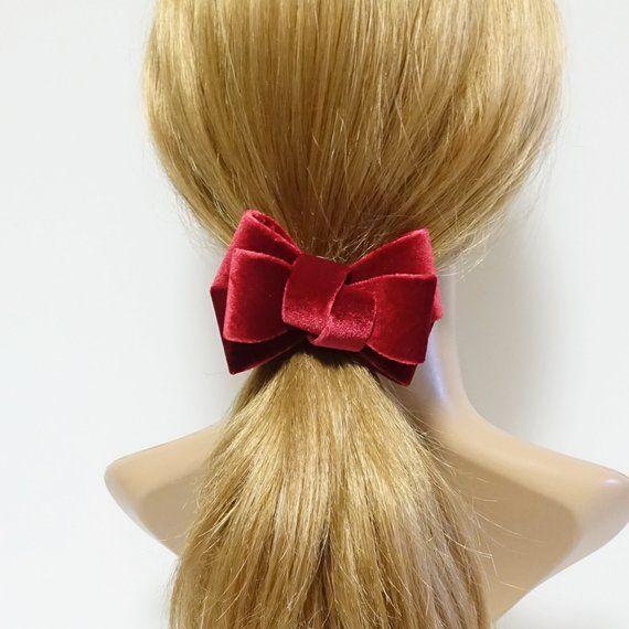 Big velvet 3 wings hair bow elastic ponytail holder or alligator clip