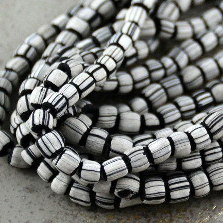 """Striped Lamp Work Glass Tube Spacer Beads, White Stripes, Black Beads, Glass Beads, Tube Barrel Spacer, Indonesian, 22"""" String, BB17-1101"""