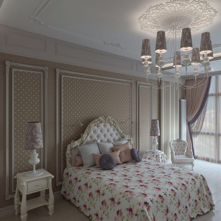 Нежная спальня для девочки.А обои в мелкий горошек делают комнату уютной и веселой. #anticastyle #антикастайл #design #interior #дизайнинтерьера #интерьер #дизайндетской #дизайнспальни