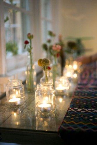mason jar & wine bottle party table setting