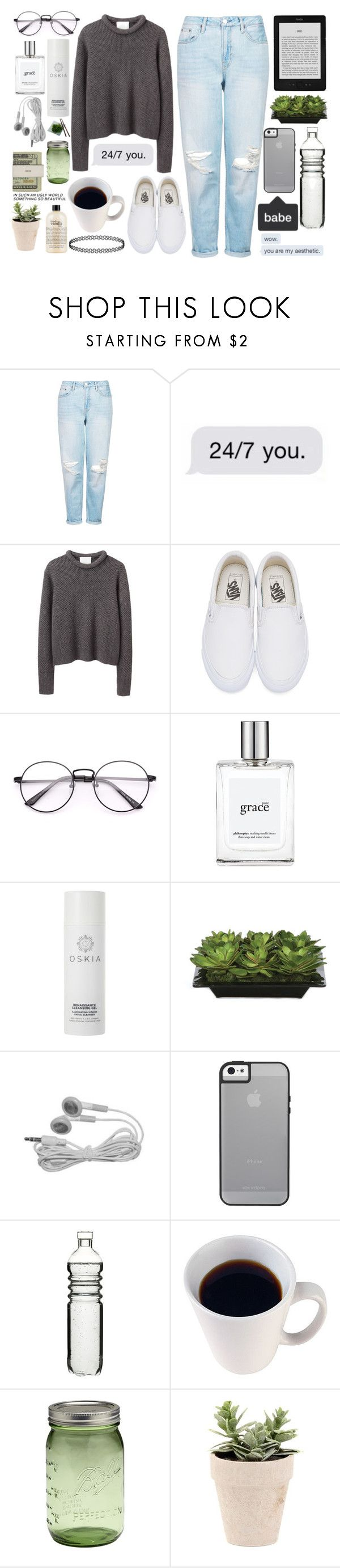 """my aesthetic"" by simply-sacraficed ❤ liked on Polyvore featuring Topshop, 3.1 Phillip Lim, Vans, philosophy, Oskia, Lux-Art Silks, Dot & Bo, Jura and Jack Spade"