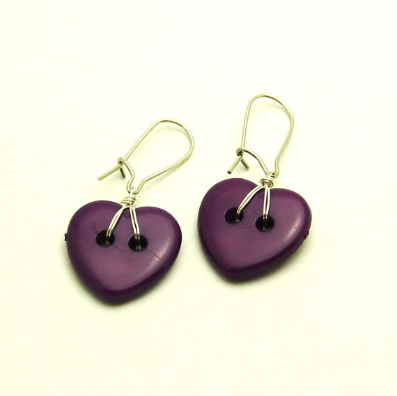 Purple heart buttons nickel free valentines day by InkaFinland, €6.50