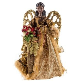 12 Quot African American Angel Tree Topper With Gold Wings