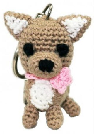 New!! Adorable Chihuahua - Hand crocheted organic cotton keychains / charm. Collect Them All!