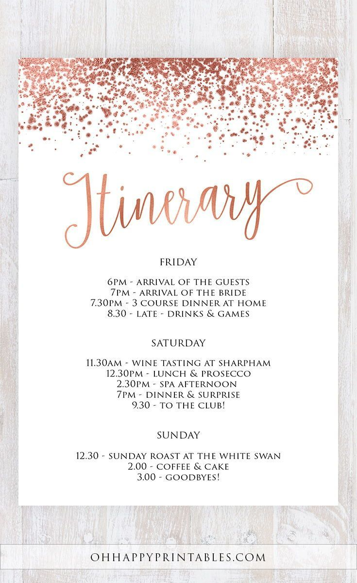 Editable PDF Itinerary Invite Printable Bachelorette Weekend Invitation Hens Weekend Hens Party Itinerary Rose Gold Foil and Navy