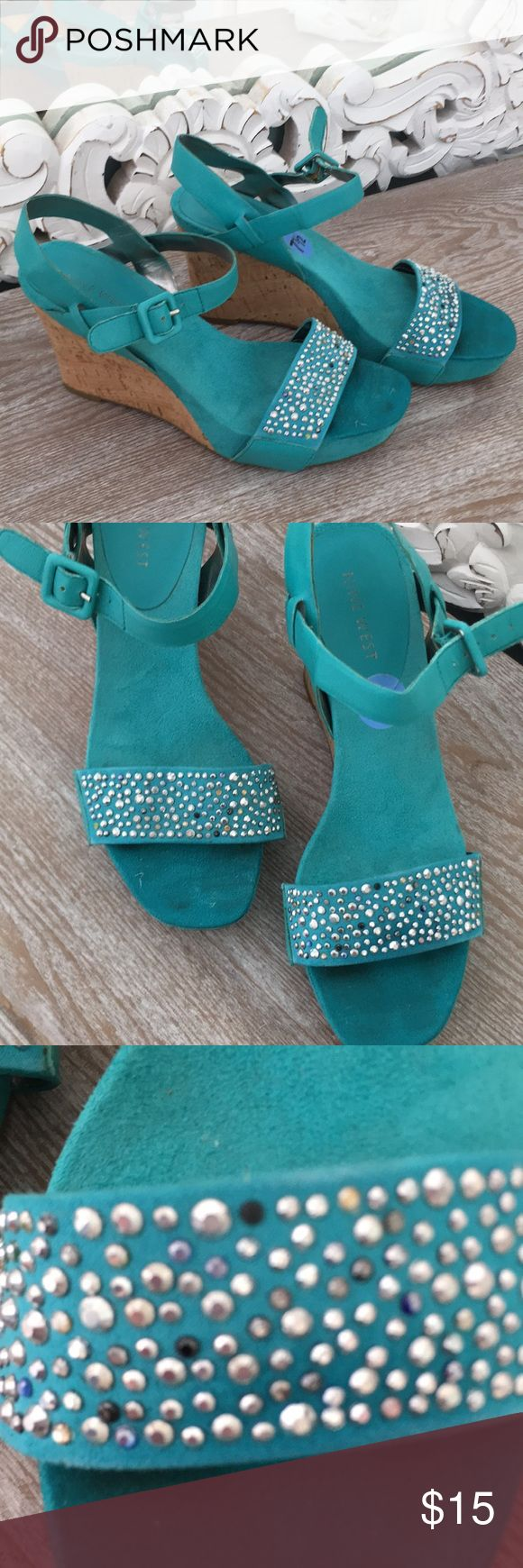 "Turquoise wedges Turquoise wedges with varies color studs,perfect for summer!! 3 1/4"" with platform Nine West Shoes Wedges"