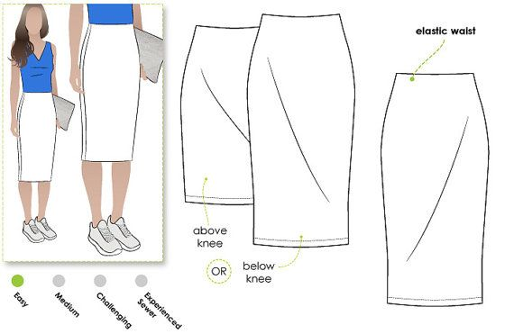 Knit pencil skirt PDF sewing pattern for instant download in sizes 10, 12 and…