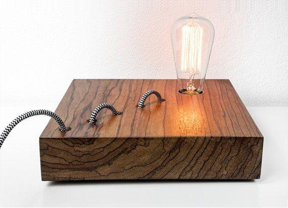 RÉSERVÉE à Domenico - Ovangkol lampe bois mod. Yacine #006 - lampe de table lampe - lampe en bois - conception