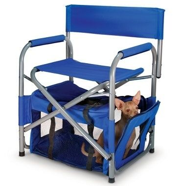 This fold-up chair with pet compartment is perfect for camping, tailgating, or just hanging in the backyard.