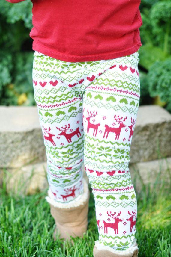 Baby Toddler Girl's Leggings Christmas Reindeer by ChubbsLeggings