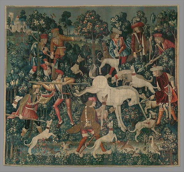 """Unknown Artist, """"The Unicorn Tapestries: The Unicorn defends itself"""", 1495 - 1505, South Netherlands, wool warp with wool, silk, silver, and gilt wefts, The Cloisters/The Metropolitan Museum of Art, New York, New York, USA"""