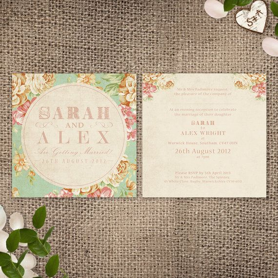 Wedding Invitation  Vintage Floral Printable File by HeartInvites