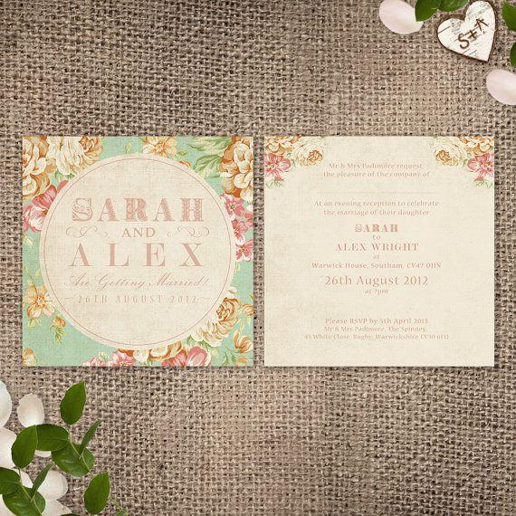 Wedding Invitation - Vintage Floral Printable File on Etsy, $35.86 AUD Love this!