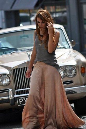 Zara Long Flowy Maxi Skirt Nude