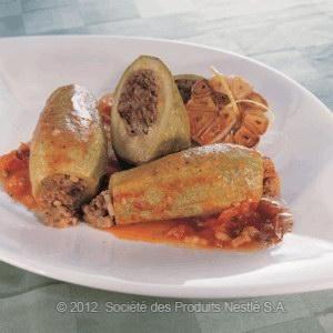 Stuffed Baby Zucchini with Tomato Sauce    Lebanese Recipe