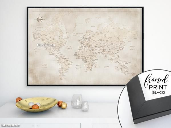24 best world maps modern world maps in vintage style images on framed world map print modern world map in the style of a vintage world map sepia world map with cities distressed map gumiabroncs Image collections