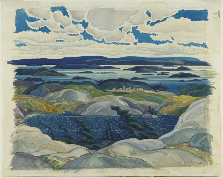 Bay of Islands, 1930 Franklin Carmichael was a Canadian painter and the youngest member of the original Group of Seven. He was greatly influenced by Tom Thomson with whom he shared studio spade. Along with A. J. Casson and F. H. Brigden, Carmichael founded the Ontario Society of Painters in Watercolour in 1925. He also founded the Canadian Group of Painters in 1933, which several members of the Group of Seven would later join. He taught at the Ontario College of Art from 1932 to 1945.