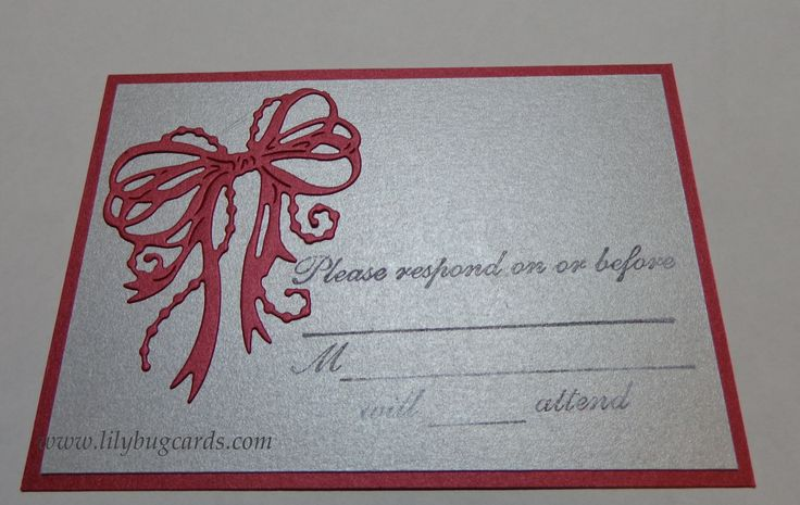 Reply card to match invittation.  Envelope was made in matching silver for these as well.   Details on blog.