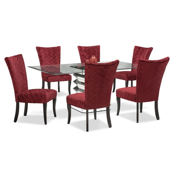 Dining Room Furniture  Vibrato Table And 6 Chairs  Red  Mid Impressive Dining Room Chairs Red Review