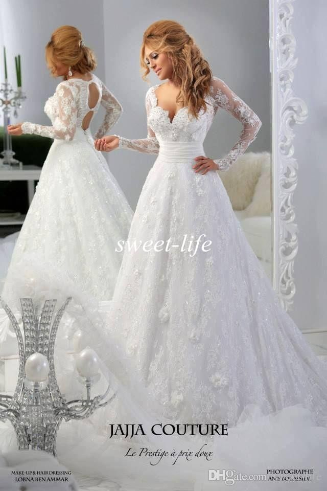 Jajja Couture 2015 Long Sleeve Plus Size Wedding Dresses Beads Lace Applique Backless A-Line V Neck Vintage Custom Made Bridal Wedding Gowns Online with $155.92/Piece on Sweet-life's Store | DHgate.com