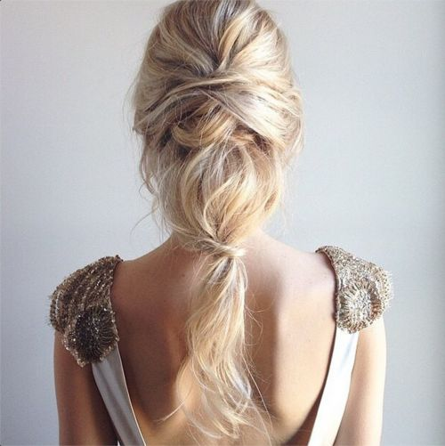 twisted pony. This would be good for me because it'll be out of my face and doesn't have to hold a curl