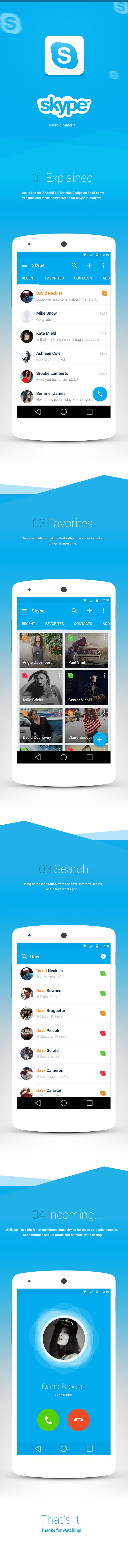 Now this is a great example of #MaterialDesign: a Skype #redesign for Android brings out the best of Lollipop.