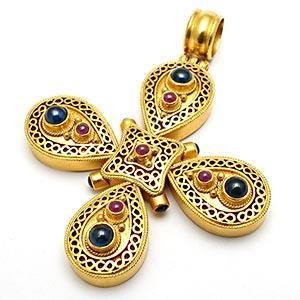 ILIAS LALAOUNIS BYZANTINE MALTESE CROSS PENDANT RUBY SAPPHIRE 18K GOLD