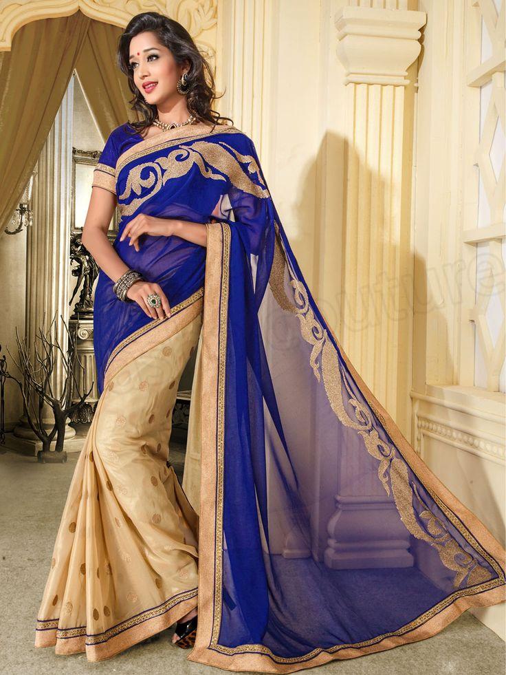 #Designer Sarees # Blue & Cream #Indian Wear #Desi Fashion #Natasha Couture #Indian Ethnic Wear