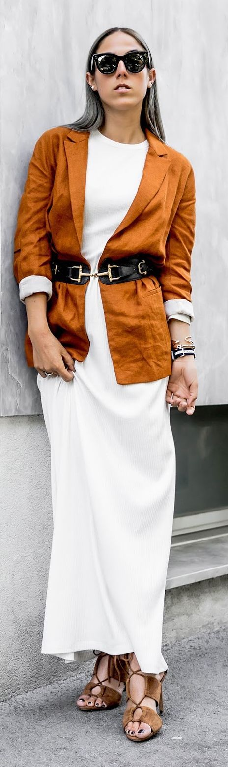 Camel Belted Blazer White Maxi Dress Camel Sandals Fall Inspo by Bangbangblond