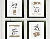 Bathroom Art Print - Set of 3 - 8x10. $32.00, via Etsy.