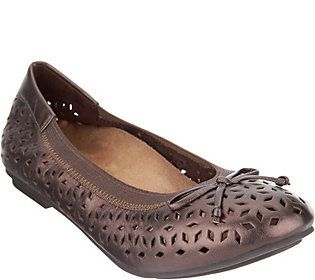 Vionic Orthotic Perforated Leather Ballet Flats - Maddie