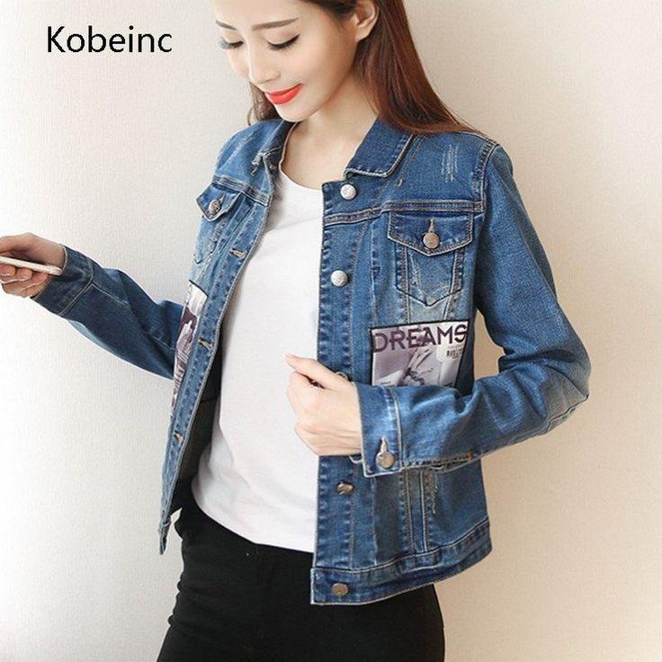 Kobeinc Women Denim Coat Vintage Ripped Jaqueta Jeans Single Breasted Jacket Patch Designs Chaqueta Streetwear Outfits Abrigos
