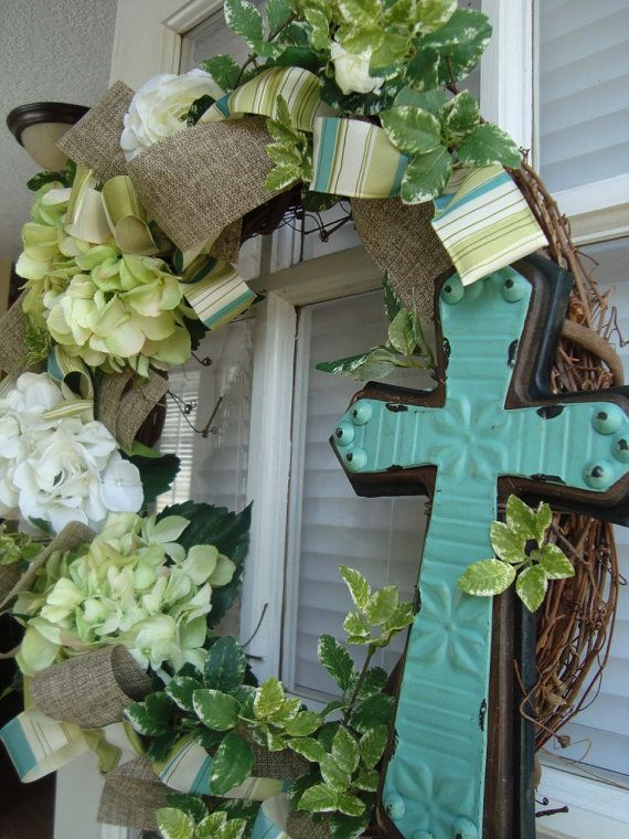 Easter wreath- and I have this exact cross already!