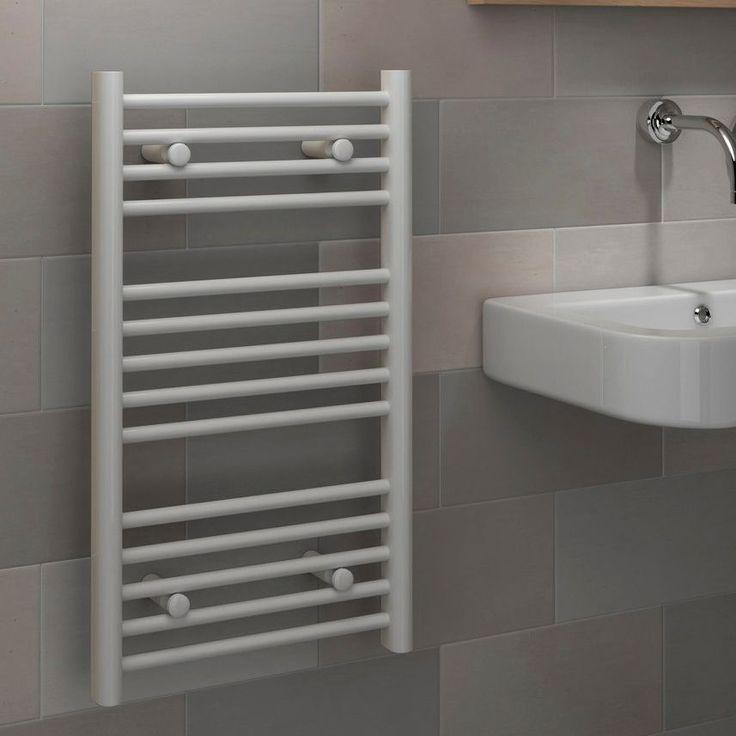 Kudox Flat Ladder Contemporary Towel Warmer White (H)700 (W)400mm | Departments | DIY at B&Q