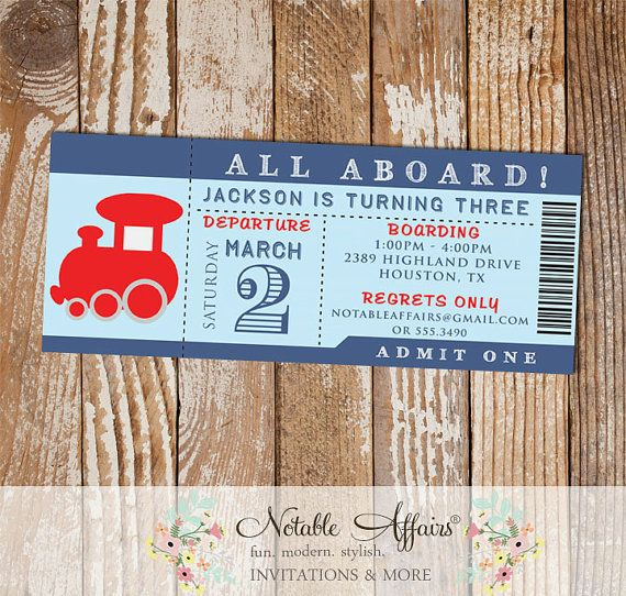 2309 best party ideas invitations images on pinterest birthday choo choo all aboard train birthday party ticket invitation colors can be changed no custom wording due to limited space stopboris Images
