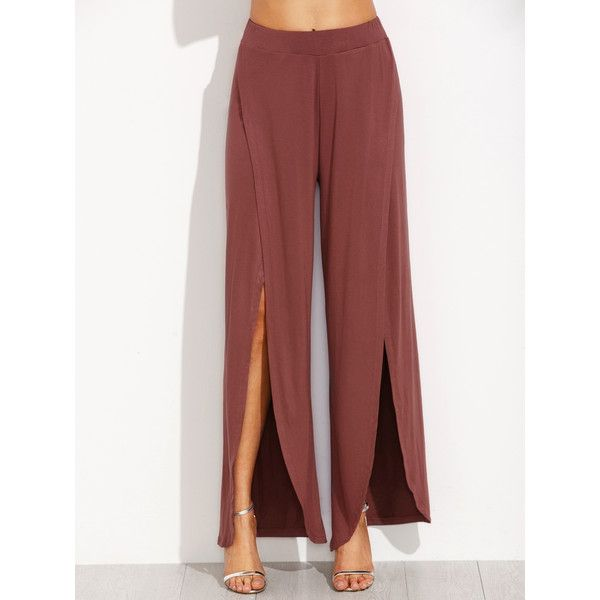 SheIn(sheinside) Brown Split Side Wide Leg Pants (155 SEK) ❤ liked on Polyvore featuring pants, brown, red trousers, red pants, summer pants, brown pants and red wide leg trousers