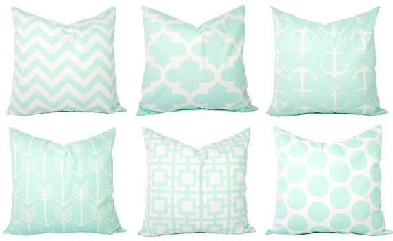 Mint Pillow Covers  Mint Green and White by CastawayCoveDecor(o's room)