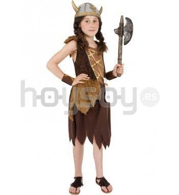 #Disfraz de guerrera #vikinga para #niña. Este disfraz se compone de vestido y muñequeras #Disfraces #Carnaval #Vikingo