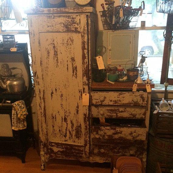 Antique Solid Oak Wardrobe/Kitchen CABINET 1800s Prep Board