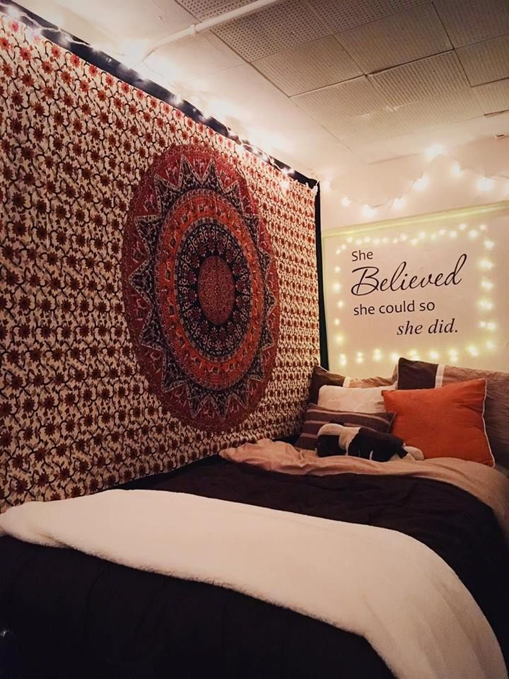 dorm ideas | cute dorms | UCONN dorms | tapestry | string lights | quote wall | wall quote | dorm room | college | UCONN | Adorable Dorm Rooms That Will Make You Want to Redecorate