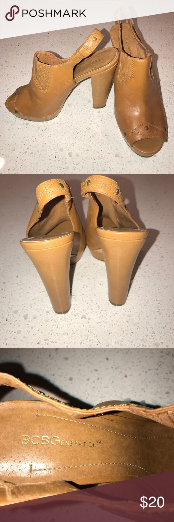 "💓REDUCED💓BCBG Platform Sling-back Open Tow Mules 1"" platform, camel colored leather, no scuffs on heels, heel caps intact, gently used. BCBGeneration Shoes Platforms"